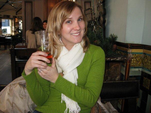 Enjoying my free pint!