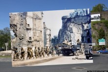 In this composite image a comparison has been made of Saint Lo, France. D-Day took place on June 6, 1944. *** COLOR 2014*** Images # 493782069. SAINT LO, FRANCE - MAY 7: A view of the roadway on May 7, 2014 in Saint Lo, France. The Allied invasion to liberate mainland Europe from Nazi occupation during World War II took place on June 6, 1944. Operation Overlord, known as D-Day, was the largest sea borne invasion in military history. (Photo by Peter Macdiarmid/Getty Images) ***ARCHVE 1944*** Images #107759178. Operation Overlord Normandy, United States Army trucks and jeeps are driving through the ruins of Saint-Lo. July 1944. A group of American soldiers is walking along the street. The town was almost totally destroyed by 2,000 Allied bombers when they attacked German troops stationed there during Operation Overlord in June. France. (Photo by Galerie Bilderwelt/Getty Images)