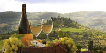 Chianti landscape with bottle of wine in Italy